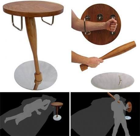 Self-Defense Table: You only need a shield and a bat: Ein Nachttisch zur Selbstverteidigung - Win Bild | Webfail - Fail Bilder und Fail Videos