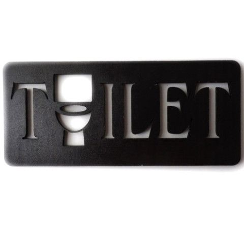 Wooden TOILET Missing 'O' Loo Door Sign - Dark Brown Wood Grain