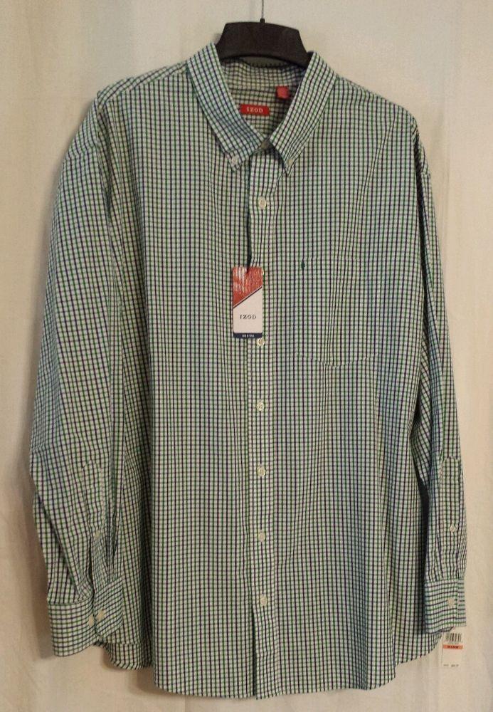 NWT $50 Mens Izod Big /& Tall Dress Casual Shirts Long Sleeves Plaid or Stripe