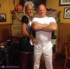 Jeff: Jeff is wearing the Mr. Clean costume. Jessica is wearing the maid costume. Its actually pretty simple. My head is always shaved and have been hearing I look like Mr....