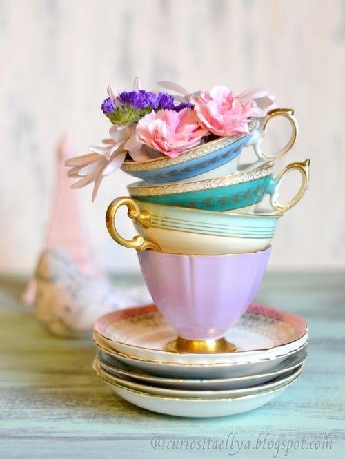 Colourful vintage tea cups