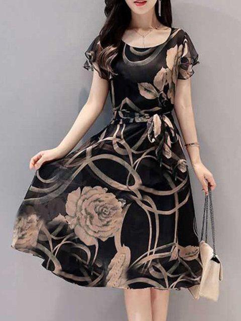 09082efb65a Women Black Date Short Sleeve Printed Floral Dress in 2019