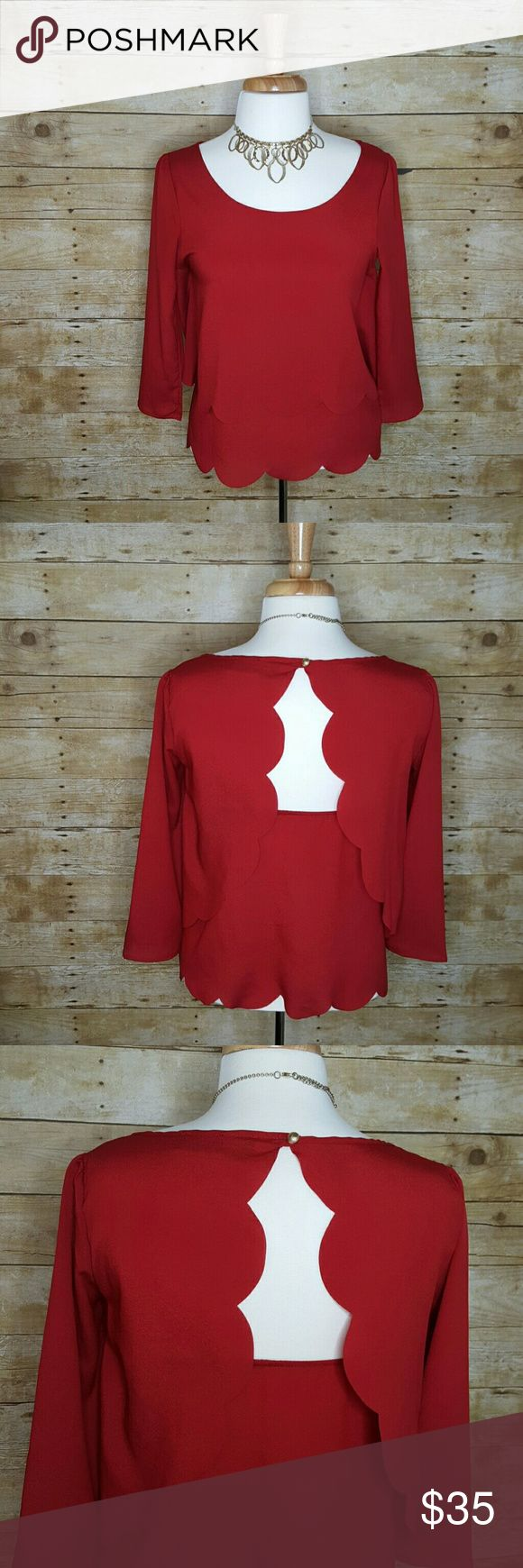 Akira Chicago Red Label Open Back Scalloped Top Akira Chicago Red Label Open Back Scalloped Three Quarter Sleeve Top. Size Small. 100% Polyester AKIRA Tops Blouses