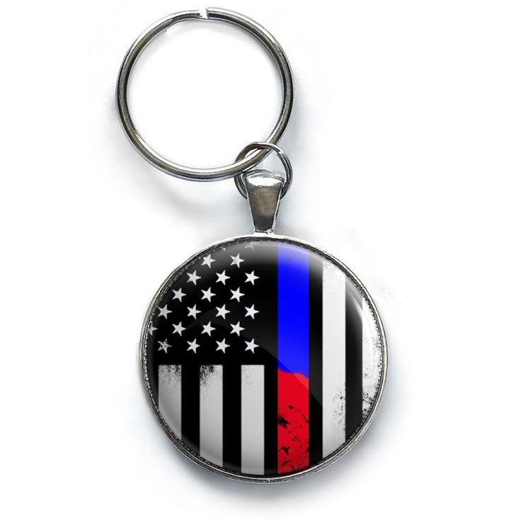 Awesome Thin Blue & Red Line Keychain
