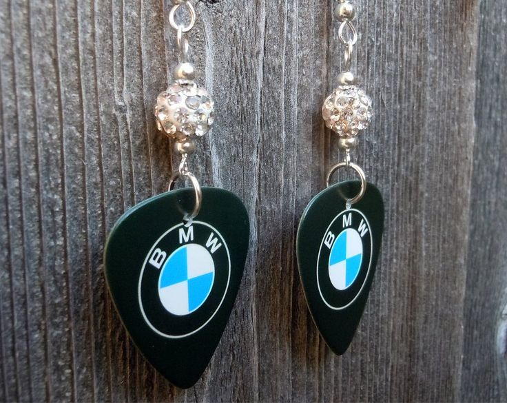 BMW Emblem Guitar Pick Earrings with White Pave Beads by ItsYourPick on Etsy
