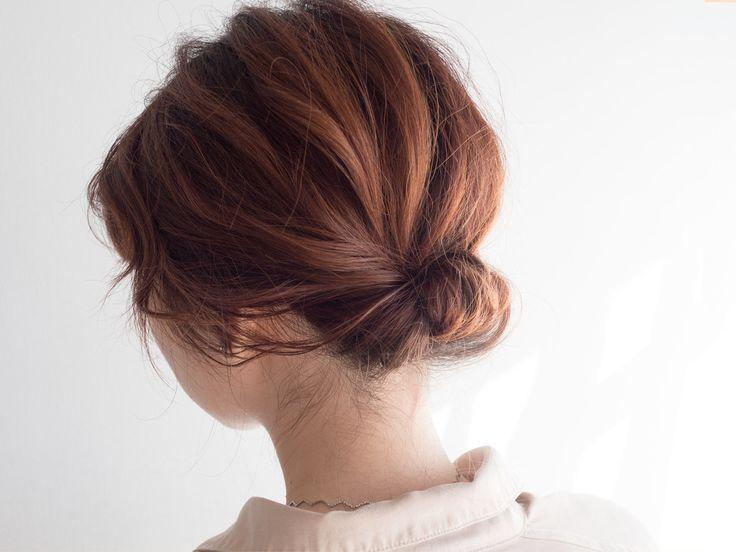 ギブソンタックのヘアアレンジのやり方 シンプルな簡単まとめ髪 簡単 まとめ髪 着物 髪型 ボブ 髪型 ボブ