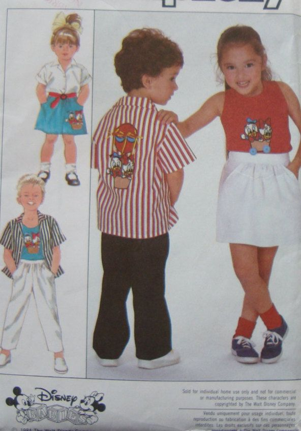Shirt,Tank Top, Skirt And Pants with Walt Disney Transfer/ Simplicity 8525 Child's Sewing Pattern/Boys & Girls Size 5/Elastic Waist, Pocket by RedWickerBasket on Etsy
