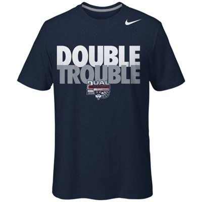 Nike UConn Huskies 2014 NCAA Men's  Women's Basketball National Champions Double Trouble T-Shirt - Navy Blue