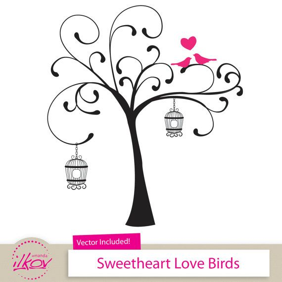 """Love Birds Clipart for Wedding Invitations, Wall Art, Digital Scrapbooking and More - 12"""" Birds in a Tree Clipart by Amanda Ilkov"""