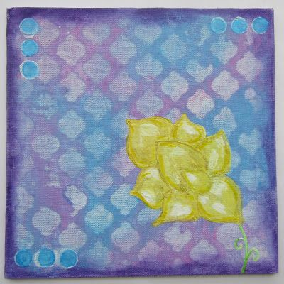 Yellow Flower on canvas board using Gelato pigment sticks by Gemma Hynes #inkykitty #gelatos #canvas