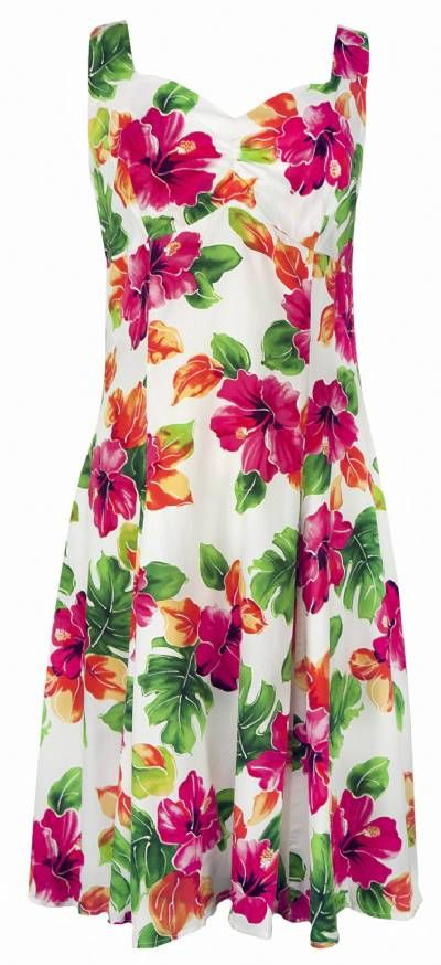 Watercolors Tropical Hawaiian Print Sun Dress White (Rayon)