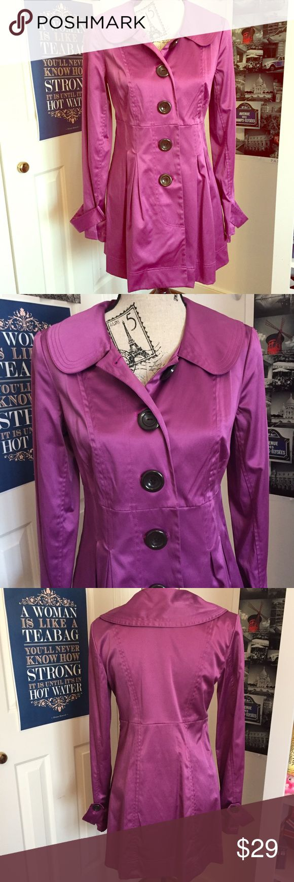 Purple Trench Coat (Junior's M) Gorgeous purple button-up trench coat with a satin-like finish. From Dillard's junior department. New without tags. 50% Polyester, 47% Cotton, 3% Spandex. Extra buttons sewn inside by left pocket. (Kept in smoke-free, pet-free environment.) I.N. San Francisco Jackets & Coats Trench Coats