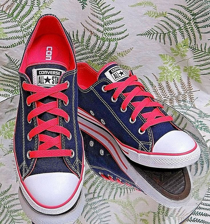 CONVERSE ALL-STAR BLUE RED SKATEBOARD FASHION SNEAKERS SHOES US WOMENS SZ 8 #Converse #SkateShoes