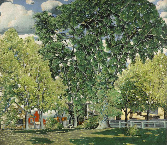 Marc-Aurèle Fortin  Paysage à Ahuntsic   v. 1923-1930   huile sur toile, collée sur masonite 122,7 x 140,3 cm Inscription: M.A. FortIN Acheté en 1962 Musée des beaux-arts du Canada (nº 9852)