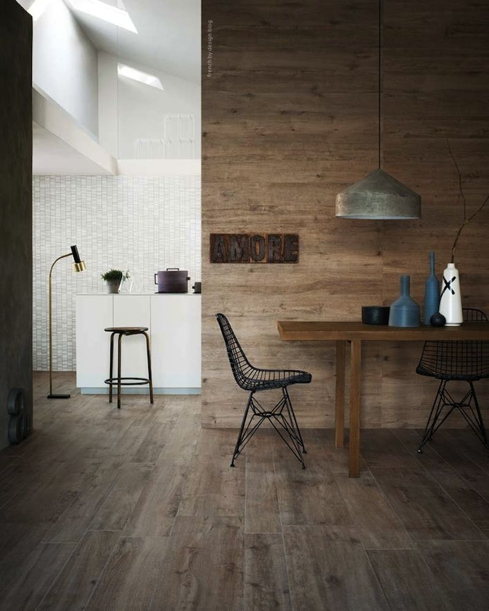 Wooden wall (smoked/stained oak?) with industrial vibe