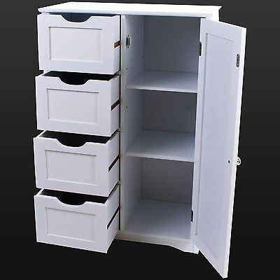 4 Drawer Bathroom Cabinet Storage Unit Wooden Chest Cupboard White Door Draw New Home Ideas Pinterest And