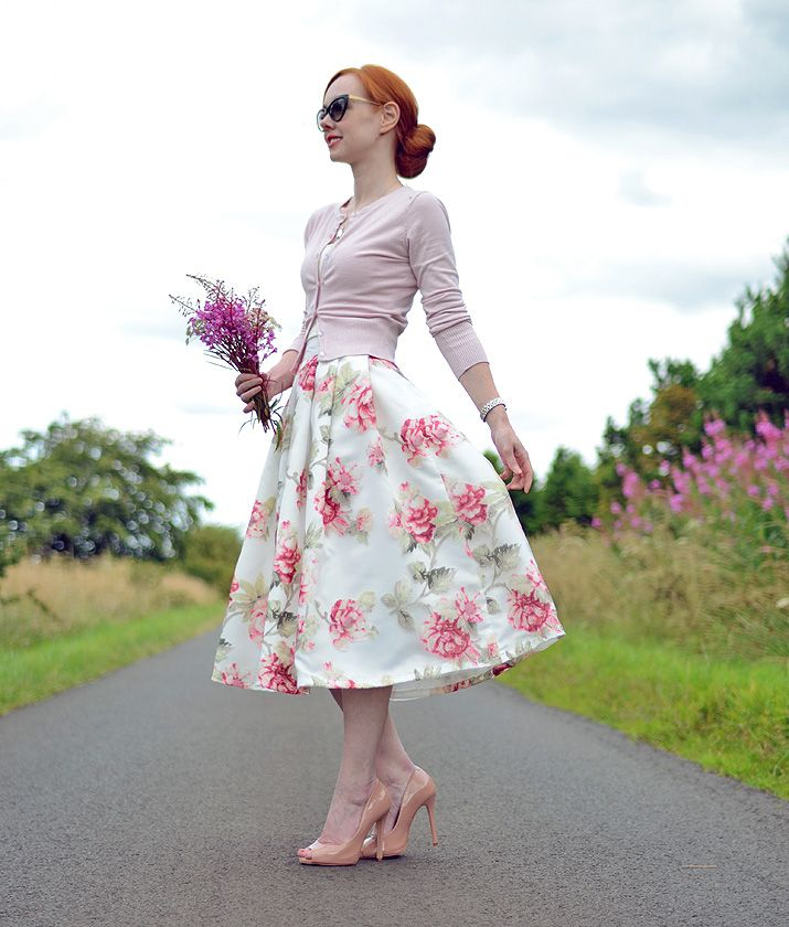 full floral skirt and pink cardigan