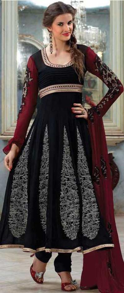 Black and Burgundy Faux Georgette Full Sleeve Designer Salwar Kameez 16421