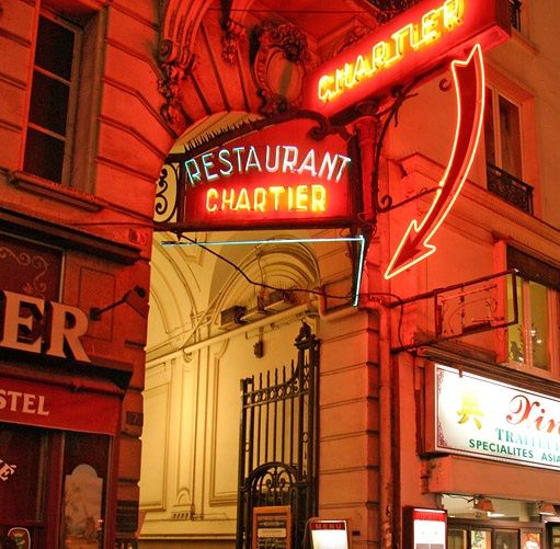 Chartier, authentic Paris Restaurant. Its big and noisy but the food (especially the wine!) is really cheap for Parisian understanding. Don't be surprised to wait some minutes before they let you in. Remember it's mainly about the atmosphere, the food is nothing special.