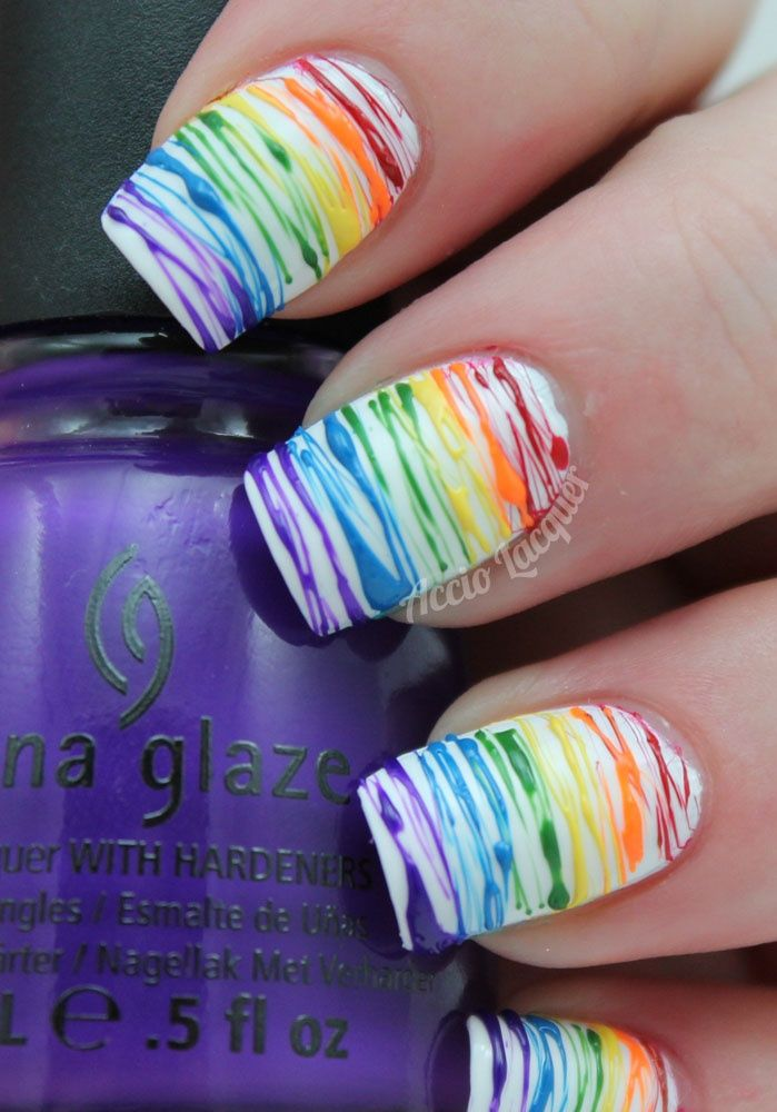 Nail Art - (Spun Sugar Rainbow) Detail of Rainbow Colors on White Gloss