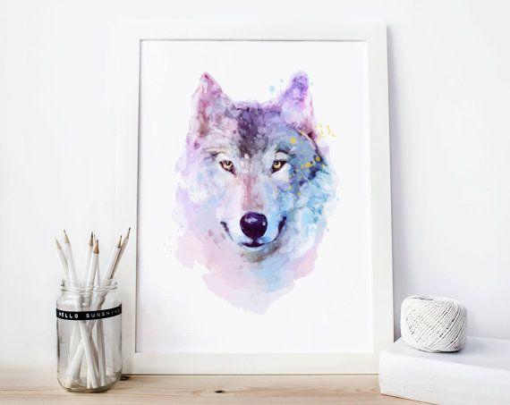 Wolf-Print Wolf Aquarell Wolf Printable wolf von CreativOrder