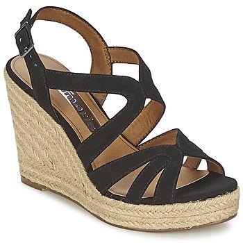 En matière de sandale, une petite nouvelle s'est glissée dans la collection Tamaris ! Ses brides en textile et sa semelle cordée sont les garantes d'un style 100% féminin. Avec son talon compensé de 10 cm, vous prenez de la hauteur en beauté ! - Couleur : Noir - Chaussures Femme 69,95 €