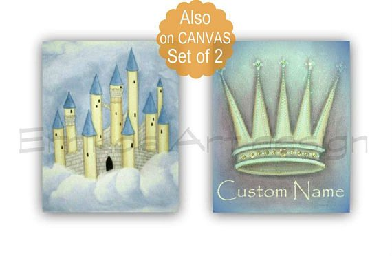 Crown Wall Art Castle Art Print Nursery Decor SET 2 Blue