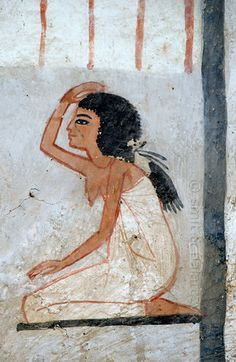 "[EGYPT 29372]<br /> 'Mourning woman in Roy's tomb at Luxor.'<br /> <br /> A mural detail in the tomb of Roy shows a kneeling woman who makes a gesture of mourning.<br /> Roy was an 18th dynasty royal scribe during the reign of Horemheb. His tomb (TT 255) can be found in the Necropolis of Dra Abu el-Naga on the Westbank at Luxor. It is one of the socalled ""Tombs of the Nobles"". Photo Mick Palarczyk and Paul Smit."