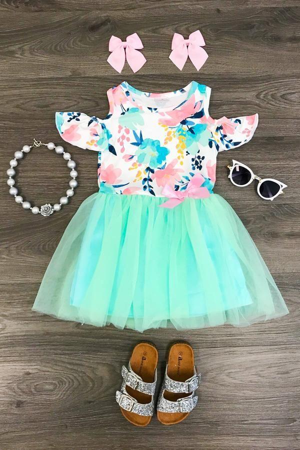 57fe5dab744 Mint Floral Sunkissed Shoulder Tutu Dress
