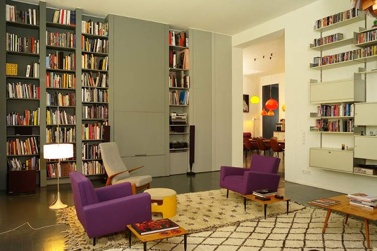 ++++: Berlin Architects, Bookshelves, Lounges Chairs, Interiors Design, Color Blocks, Architects Thomas, Book Shelves, Purple Chairs, Thomas Kroeger