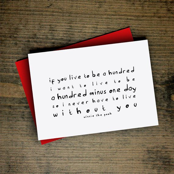 anniversary card winnie the pooh quote card a hundred minus one day friendship letterhappy etsy birthday best friends black white typography...
