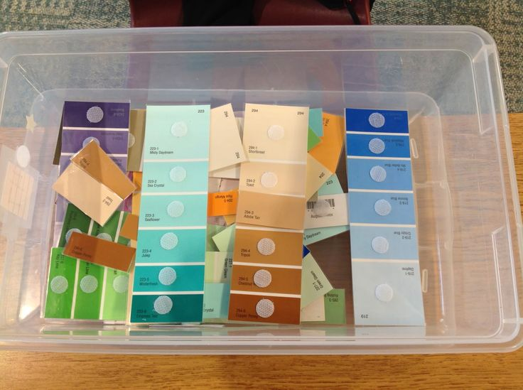 Paint strips and Velcro for a quick, easy, and age appropriate matching task! Love this!