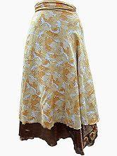 Easy Breezy Silk Sari Wrap Skirt Yellow Gold | eBay
