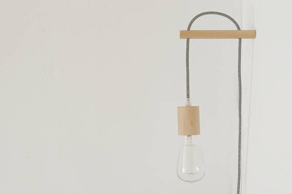 Handmade Wooden Lamp Hook With A Colored Fabric Cable Wall Etsy In 2020 Wooden Lamp Handmade Wooden Lamp