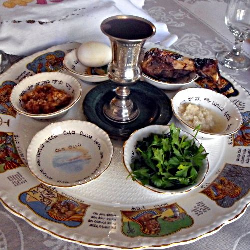 Each of the six items arranged so on the Seder plate has special significance to the retelling of the story of the exodus from Egypt, which is the focus of this ritual meal. The seventh symbolic item used during the meal — a stack of three matzos — is placed on its own plate on the Seder table. Others place the Seder plate on top of the stack of matzos.