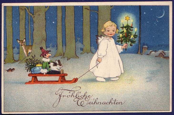 Fritz Baumgarten (German 1883–1966) Vintage Chritmas Card circa 1930.