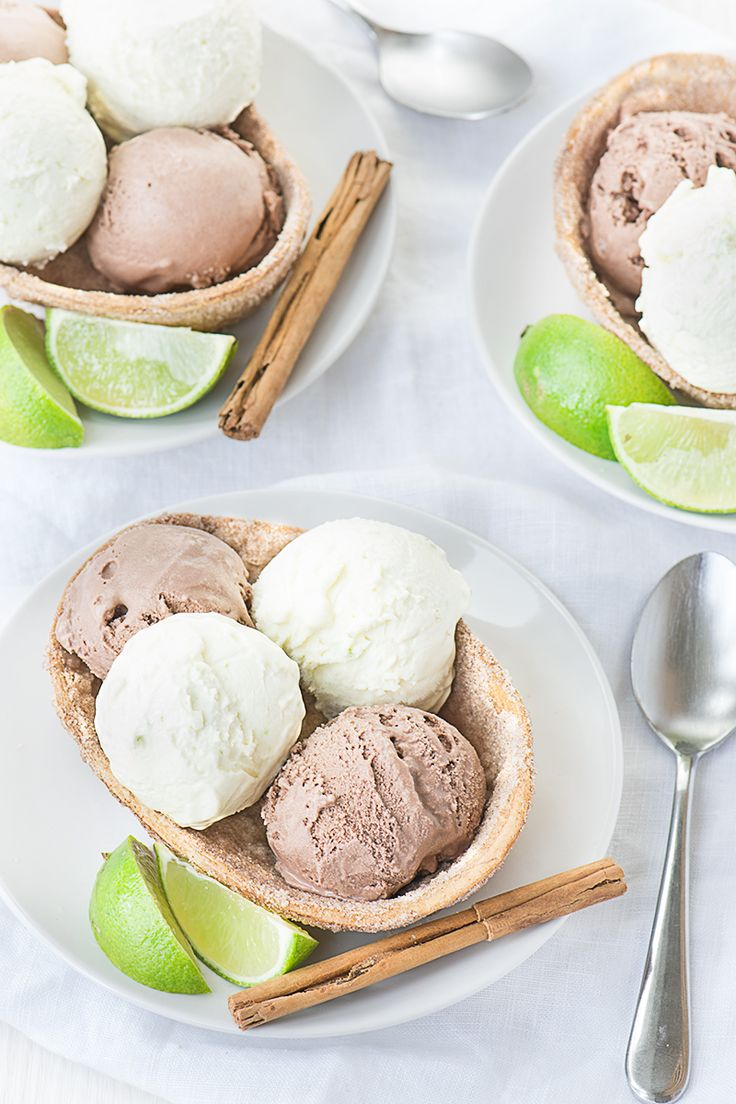 A delicious and surprisingly simple Mexican inspired dessert - Crisp sweet cinnamon taco bowls with Mexican hot chocolate (chocolate and cinnamon) and Margarita (lime, Tequila and orange liqueur) ice creams.