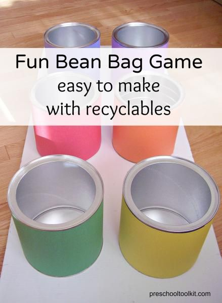 Bean bag game using coffee cans - Preschool Toolkit