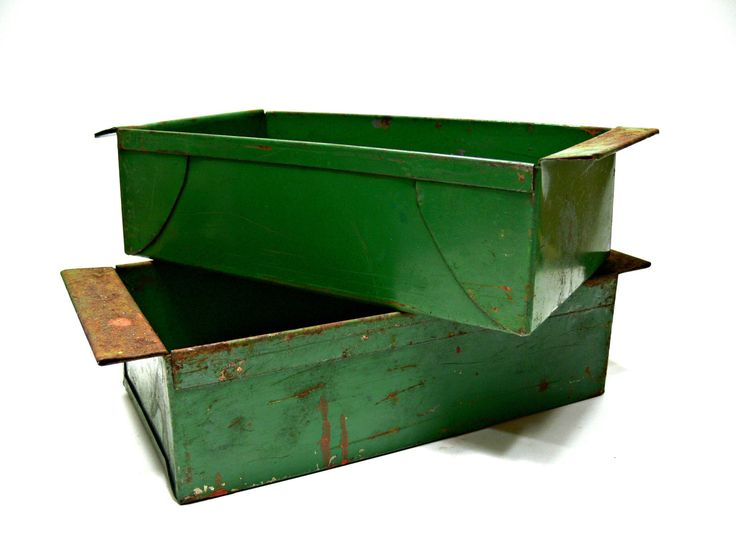 Two Green Metal Storage Bins - Vintage Industrial Decor - Farmhouse Shabby Chic Rusty Index Card Holders  Containers by EitherOrFinds on Etsy  #etsy #etsyseller #vintagefinds #industrialchic #metalcontainers