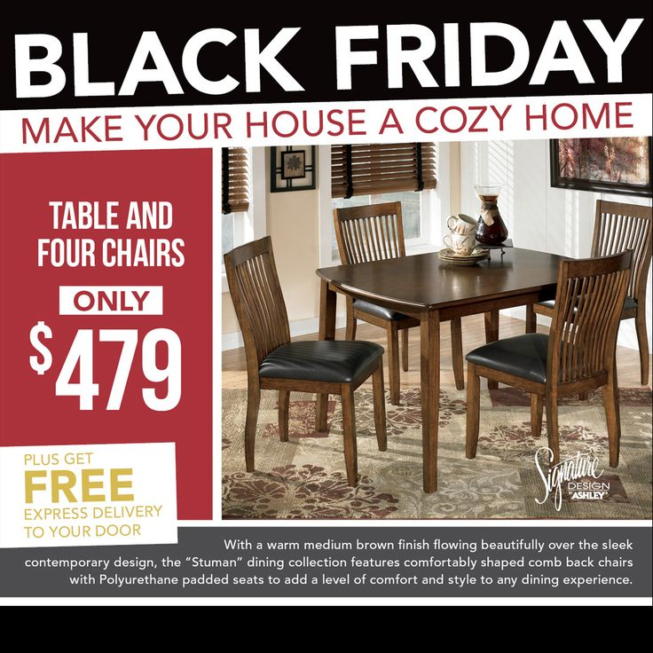 Stylish Ashley Furniture Table & Four Chairs at just $479. Visit - https://furnitureomni.com/d293-225.html #blackfriday #blackfridaysale #blackfriday2016 #blackfridayshopping #blackfridaydeals