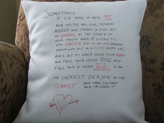 funny love letter throw pillow cover valentine's day by Twirlocity, $16.99
