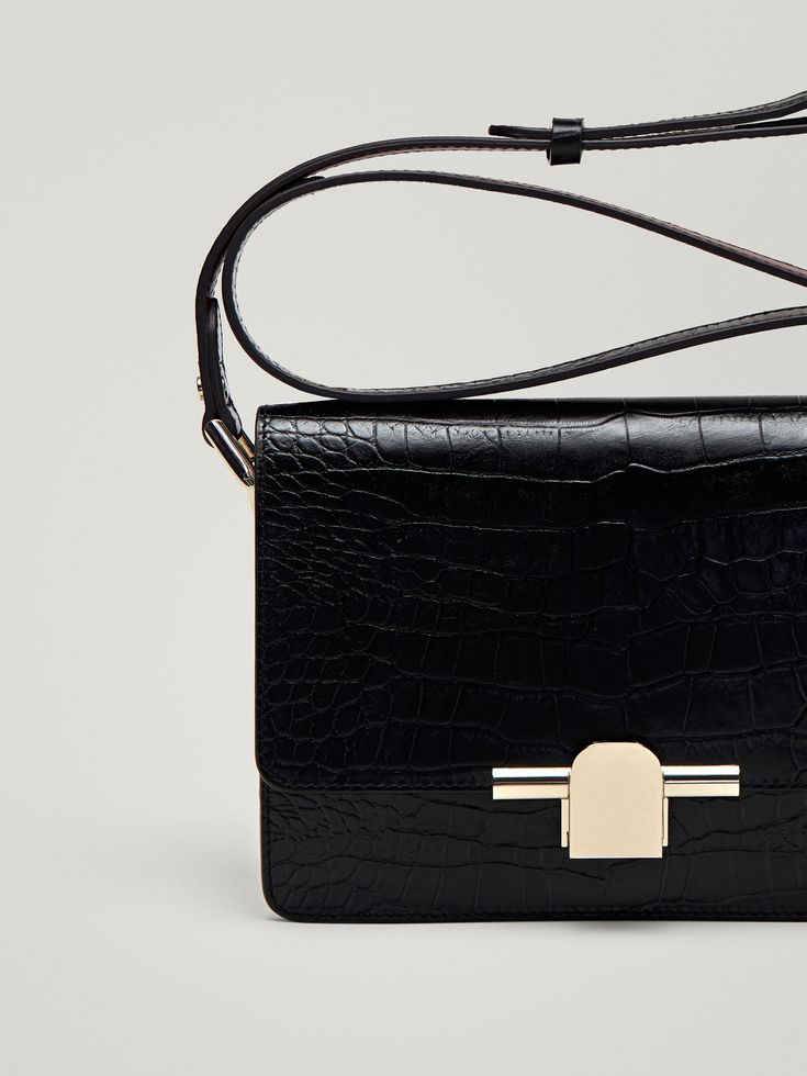 LEATHER CROSSBODY BAG WITH MOCK CROC FINISH, $195 CAD from Massimo Dutti