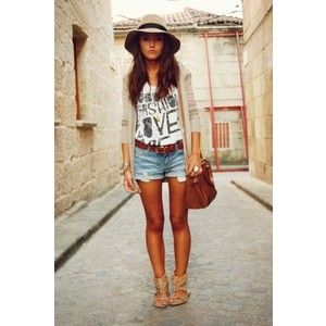 Denim Shorts Outfits #1: Black/white screen print tee, neutral cardigan, brown belt/sandals.