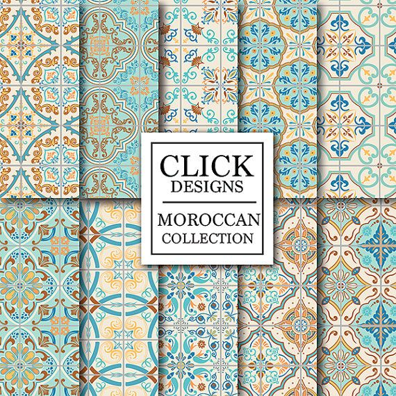 "Moroccan Digital Paper: ""RETRO MOROCCAN TILES"" retro seamless mosaic scrapbook papers in turquoise and coral, Lisbon tiles, arabesque ethnic"