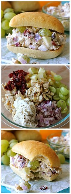 Greek Yogurt Chicken Salad Sandwich...I would make this without the cranberries