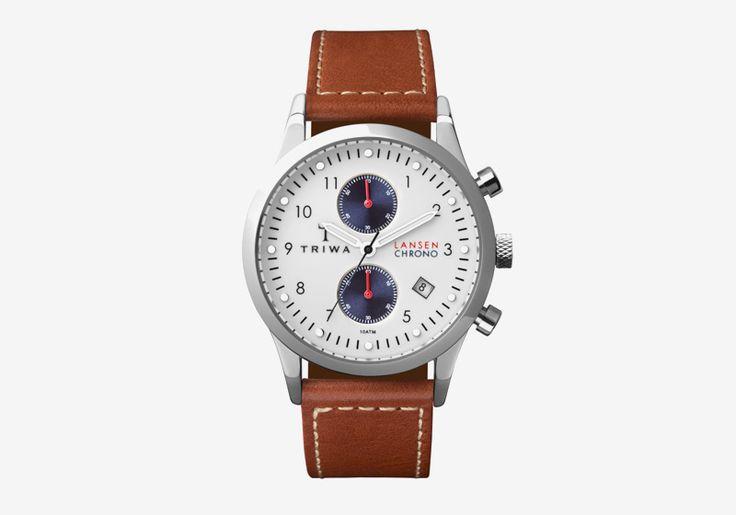 Hodinky Triwa — Duke Lansen Chrono — dámské a pánské — bílý ciferník, hnědý náramek — luxusní, náramkové #triwa #watches #hodinky #luxury #mens #womens