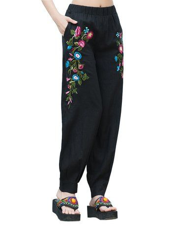 Linen Embroidery Loose Yoga Pants for Women