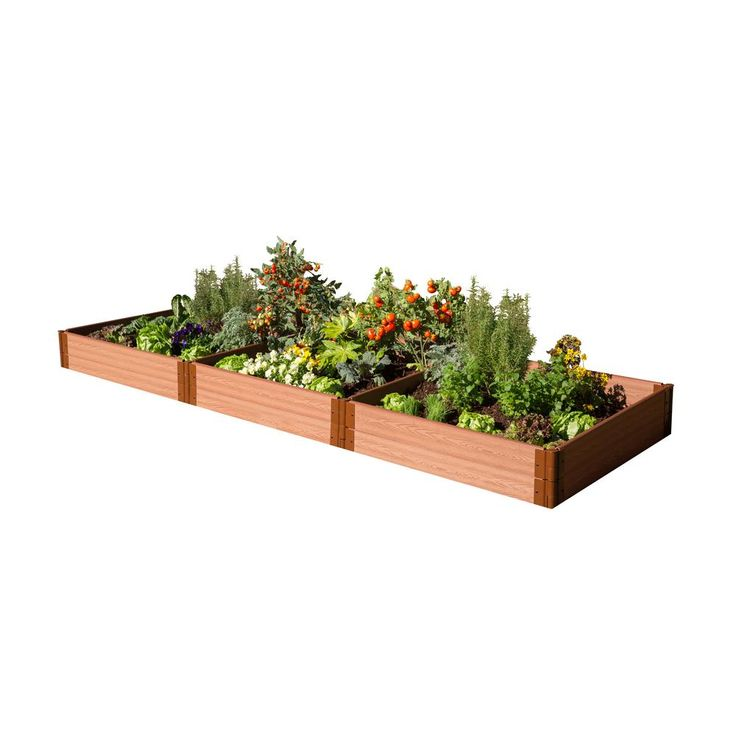 One Inch Series 4 ft. x 12 ft. x 11 in. Composite Raised Garden Bed Kit, Brown Woodgrain