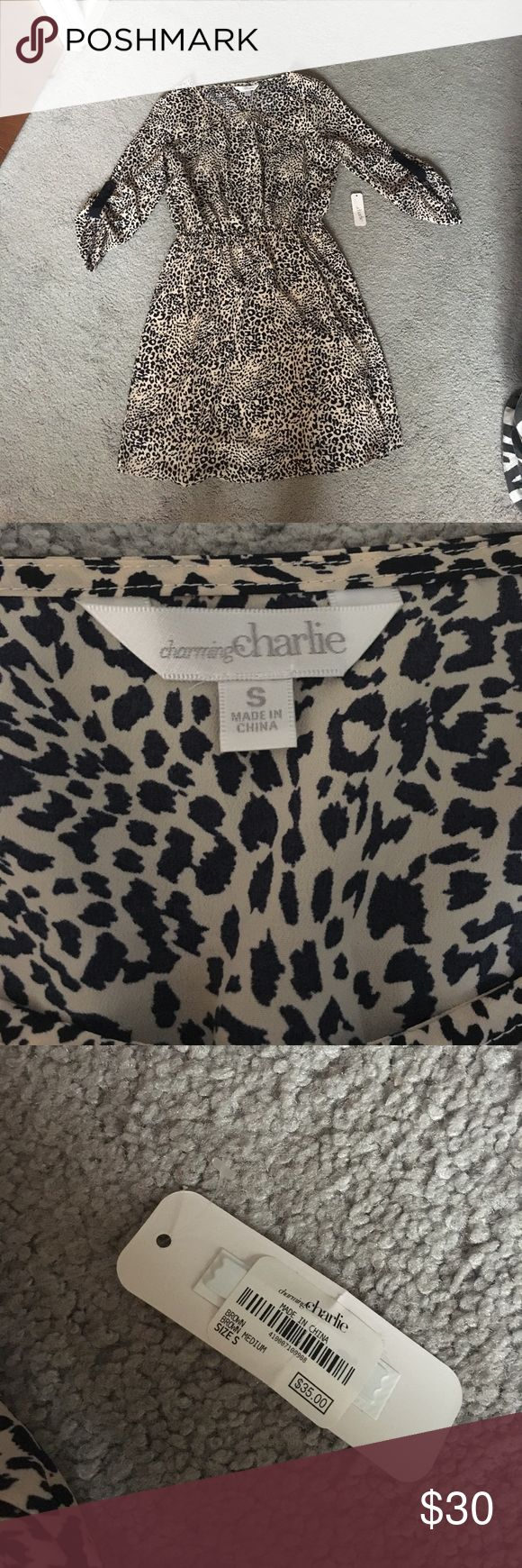 BNWT Charming Charlie Cheetah Print Dress! BNWT Charming Charlie Cheetah Print Dress! Size Small. 100% Polyester. Excellent condition, only worn to try on. Extra button comes on the inside slip (pictured). Comes from a pet free, smoke free home! Charming Charlie Dresses