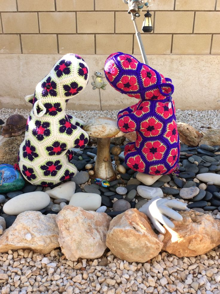 Heidi Bears African Flower Hippos www.facebook.com/hookedonhandicrafts